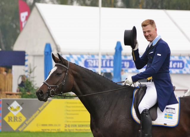 Niklas Lindbäck and Cendrillon won the dressage at Boekelo last year in a Micklem bridle. Photo by Jenni Autry.