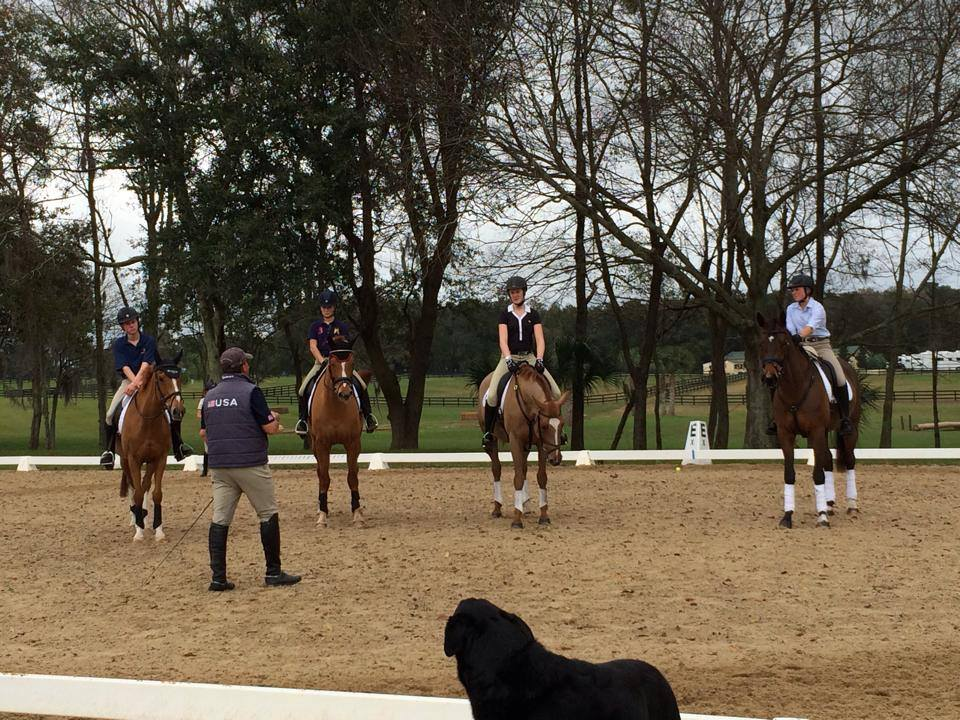 Eventing 18 Riders with David O'Connor. Photo from USEF High Performance Eventing's Facebook page