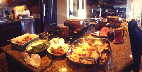 Jessica Hampf and Doug Payne's Thanksgiving spread. Photo via Jessica's Twitter.
