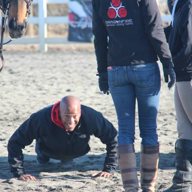 Gamal Awad, superstar husband to Hawley Bennett-Awad, demonstrates one way to score bonus points with eventers. Photo via Dragonfire Eventing.