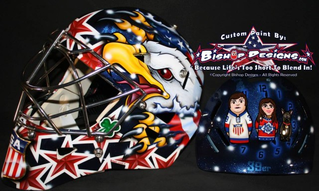 Ryan Miller's 2014 Olympic mask. Photo copyright Ray Bishop of Bishop Designs.