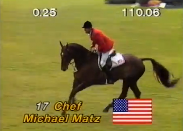 Michael Matz at the 1986 Show Jumping World Championships. Screenshot via YouTube.