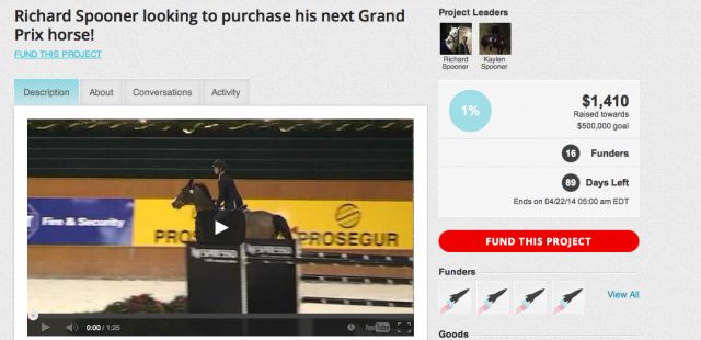 Richard Spooner is crowdfunding his next Grand Prix horse.  Screenshot from rockethub.com