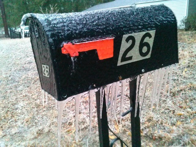 The ice on Dom and Jimmie Schramm's mailbox in Aiken. Photo via Facebook.