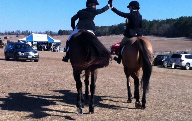 Barb Arnold on Zak's In Town and Cosby Green on Buckaroo celebrate their stadium rounds. Photo via Kristen Wiley.