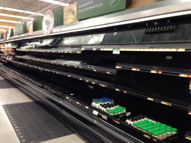 Empty shelves at the Aiken Wal-Mart. Photo via Kate Samuels.