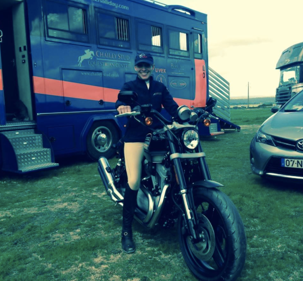 Liz Halliday and her new motorcycle, photo via the USEF Eventing High Performance page and Equine Events & PR.
