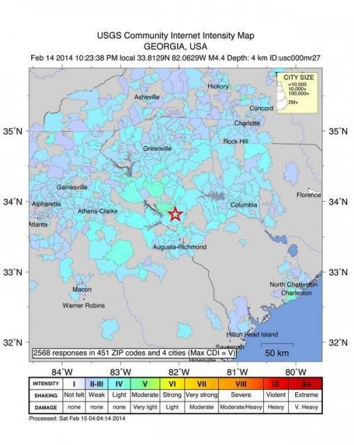 Earthquake intensity map via The Aiken Standard
