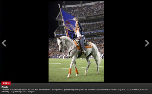 Thunder, the Denver Broncos Mascot. Screenshot from NFL.com