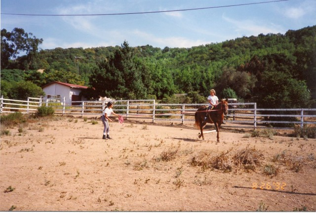 """Here she is tolerating a lunge """"lesson"""" with me and one of my friends. Obligatory disclaimer: Always wear a helmet."""