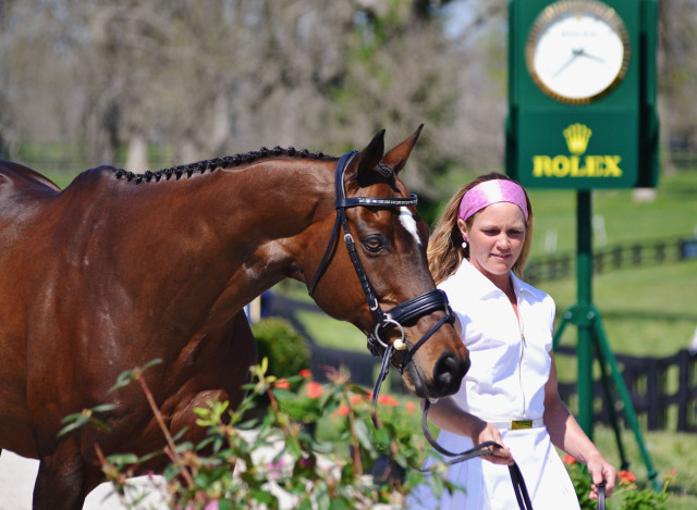 Emily and Quincy at the first horse inspection. Photo by Jenni Autry.