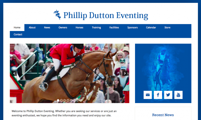 Part of the homepage of Phillip Dutton's new website.