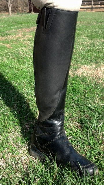 The matte looking (or super-grippy as I like to call it) leather on the inner side of the Volant boots