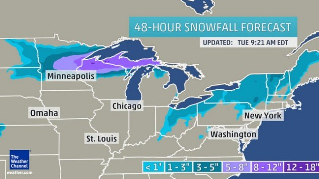 Snowfall map via Weather.com
