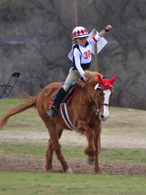 It's not from the CIC event, but it's my favorite Twin Rivers photo and it's worth reposting: Taylor McFall celebrates her second place finish in March 2013 on Mighty Maybelline in the  Intro division at Twin Rivers. Photo by Jenny McFall.
