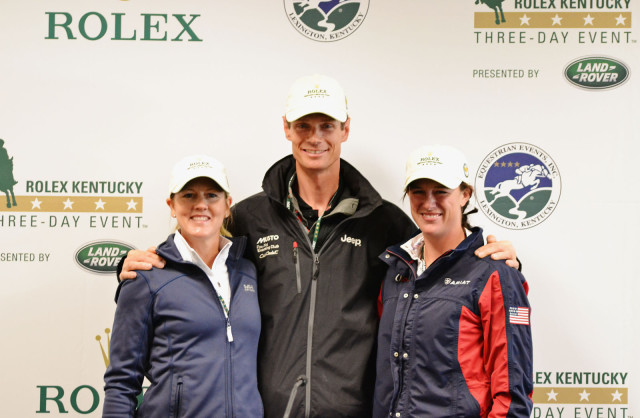 Allison Springer, William Fox-Pitt and Lauren Kieffer at the Day 2 press conference. Photo by Jenni Autry.