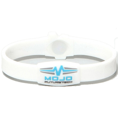 "Mojo ""Raptor"" wristband in white and blue."