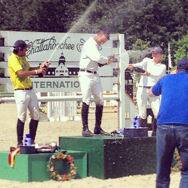 The top three celebrate in the CIC3*. Photo via Wallace Eventing Facebook page.
