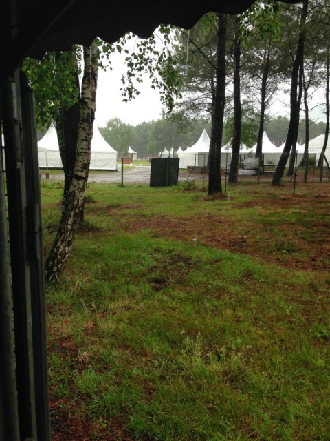 The rainy view from our tack stall towards the main ring. Photo by Doug Payne.