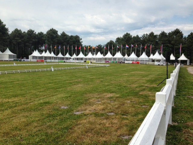The dressage arena being set up. Photo courtesy of Doug Payne.