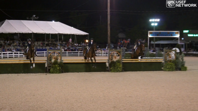 Justine, Katie, and Victoria on course. Screenshot from USEF Network video.