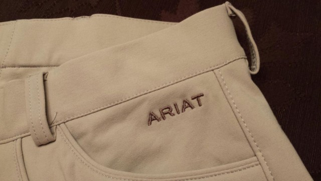 Ariat embroidered logo detail on Olympia breeches