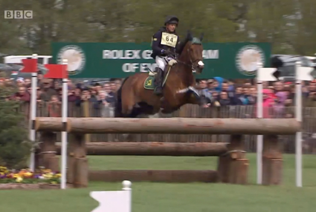 Peter Flarup and Calista E triggered the frangible pins at this fence when the mare caught a front leg on the back rail.