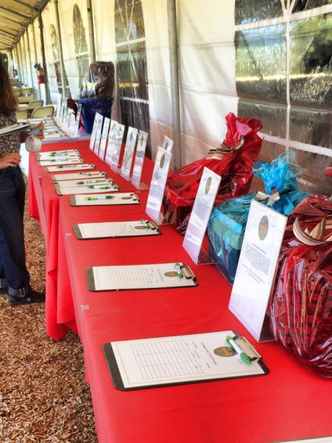 The silent auction table at Woodside HT. Photo via the Woodside International HT Facebook page.