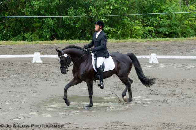 Patrick Billes and are tied for second in Open Intermediate after dressage. Photo by Jo Arlow Photography.