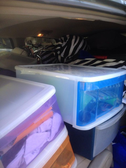Graduate working student Jenny Barnhard packs up to return to Maryland from college