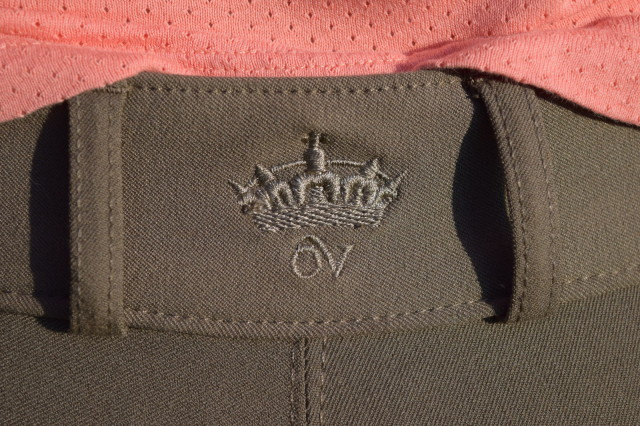 Ovation logo on back waistband of the Slim Secret breeches