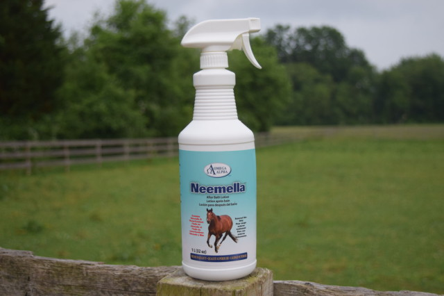 Neemella After Bath Lotion is easy to apply with a spray applicator, Photo by: Lorraine Peachey