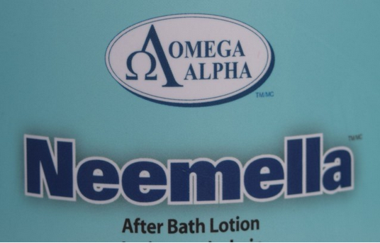 Label on the Omega Alpha Neemella After Bath Lotion, Photo by: Lorraine Peachey