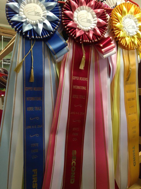Beautiful ribbons at the Copper Meadows event. Photo via Copper Meadows Eventing Facebook page.