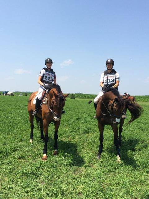 My student, Heather, and I after two great cross country rounds on young horses.