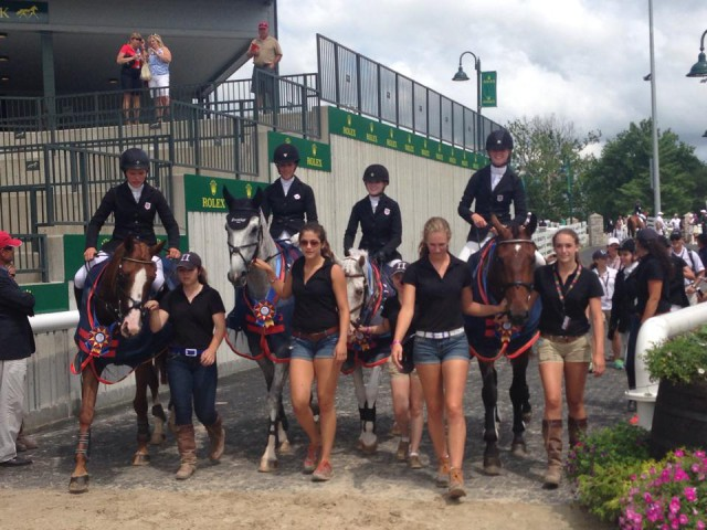Area II riders enter Rolex Stadium for the awards ceremony. Photo via the NAJYRC Facebook page.