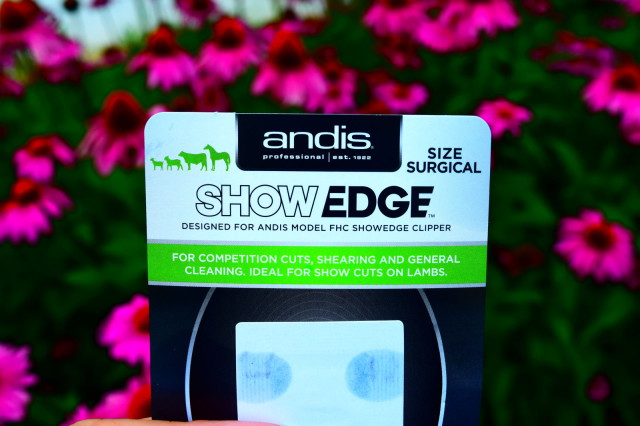 The Andis ShowEdge logo on the replacement blade packaging - Photo by Lorraine Peachey