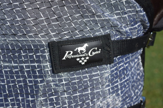 Logo on Professional's Choice Fly Sheet Chest Strap - check out the detail of the soft mesh fabric with the polyester rip stop technology - Photo by Lorraine Peachey