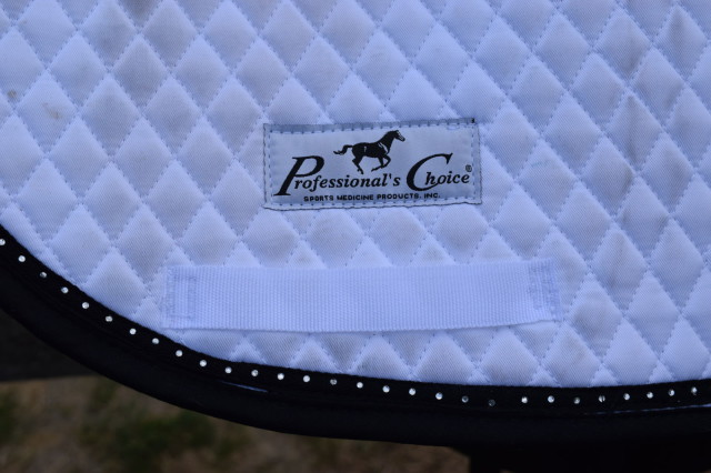 Professional's Choice Logo on Quilted Dressage Pad with Crystal Border - Photo by Lorraine Peachey