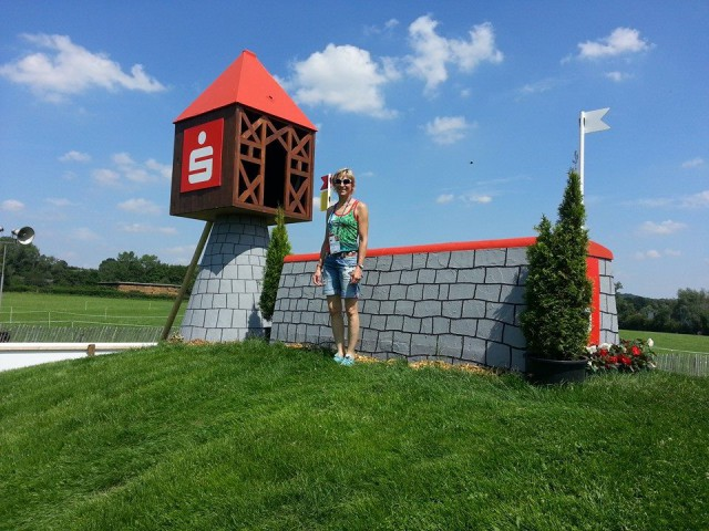 Ingrid Klimke checks out the Aachen cross country course. Photo via Ingrid's Facebook page.