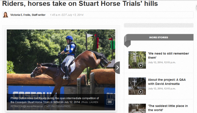 Phillip Dutton and Get Ready in the Open Intermediate. Screenshot via the Democrat and Chronicle website.