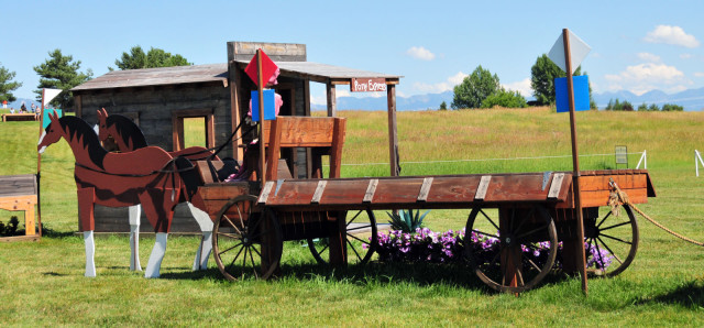 The horses pulling this wagon in the Western town are also new this year.