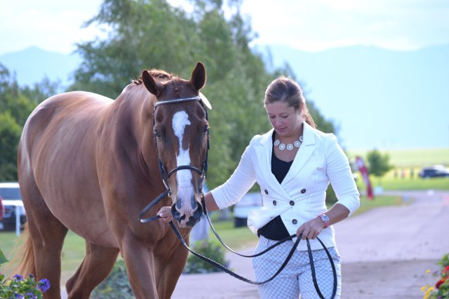 Katie Frei and Houdini during the CIC3* horse inspection. Photo by Chesna Klimek.