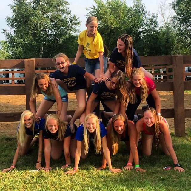 How many eventers can you fit on a pyramid? Photo courtesy of Liz Lund Eventing.