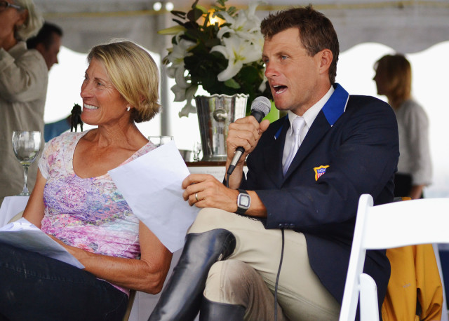 Boyd Martin heckles the competitors while Marcia Kulak waits to take over the mic. Photo by Jenni Autry.