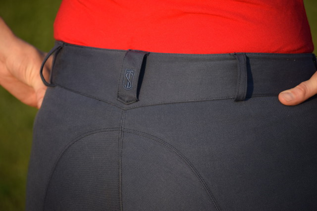I've found that the definition waistband of the breeches curves nicely around my back without gapping - Photo by Lorraine Peachey
