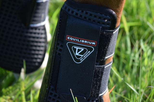 Logo on Equilibrium Tri-Zone Airlite Open Front Boots II from World Equestrian Brands - Photo by Lorraine Peachey