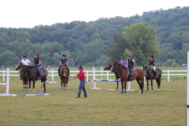 Dom and some attentive clinic riders. Photo courtesy of Susan Horner.