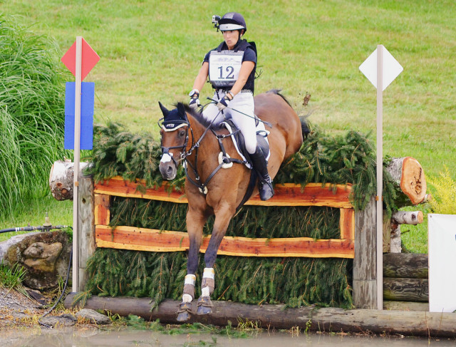 Laine Ashker sporting her helmet cam with Anthony Patch at Millbrook. Photo by Jenni Autry.