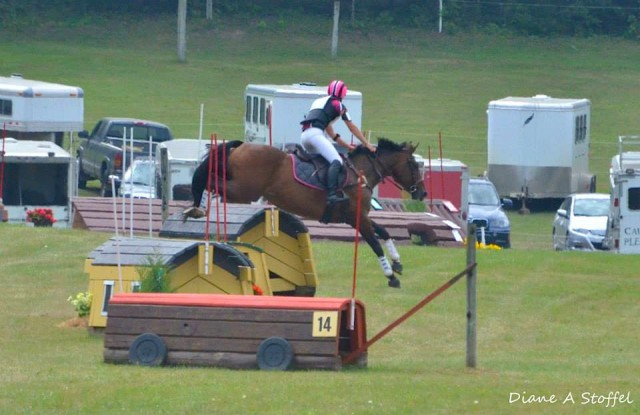 Rachael Walker and Liliana X blasted through Novice XC. Photo courtesy of Diane Stoffel.